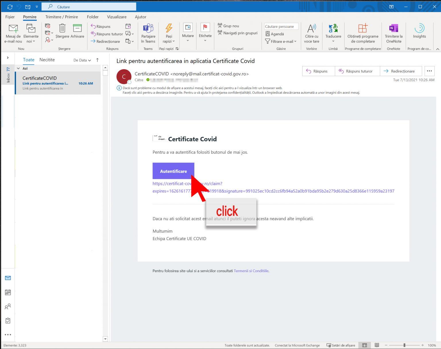 3-Deschidere link (e-mail)